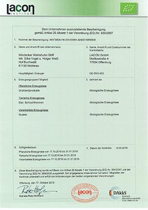 Zertifizierung - Windecker Weidehuhn